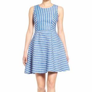 Vineyard Vines Stripe Fit & Flare Dress Blue 6